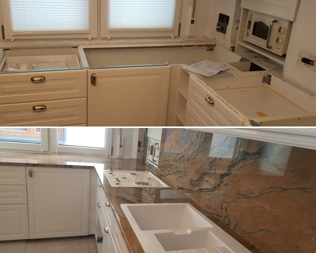 Die IKEA Küchen mit unseren maßgefertigten Arbeitsplatten